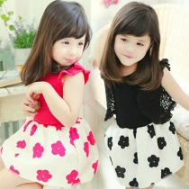 Girls Summer Short sleeve Bowknot Flower Dress Bud Tutu Dress