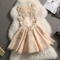 European Style Sleeveless Pure Color Crochet Lace Beads Party Dress