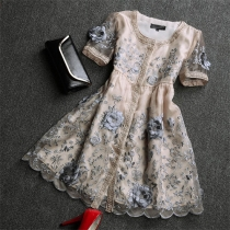 Elegant Short Sleeve Mixed Color Embroidered 3D Embroidery Organza Dress