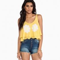 Fashion Sunflower Floral Print Wrinkled Hemline Short-length Vest