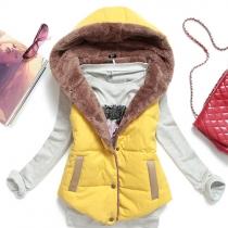 Gilet/Veste à Capuche Chaude à la Mode Sans Manches