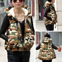 Fashion Camouflage Print Hooded Down Vest Coat
