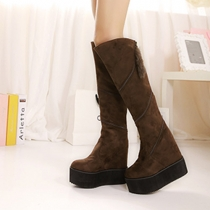 Fashion Round Toe Wedge Heel Rotary Zipper Over The Knee Boots