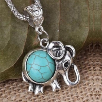 Ethnic Style Elephant Pendant Turquoise Necklace