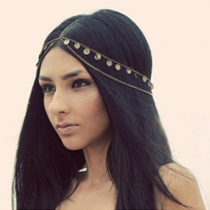 Fashion Gold-tone Leaves Tassels Chain Headwear