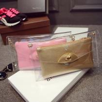 Fashion Solid Color Rhinestone Lips Clutch Shoulder Messenger Bag