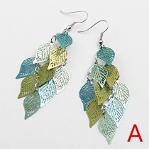 Fashion Colorful Hollow Out Tree Leaves Earrings