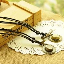 Bijoux pour femme-Style Vintage -Collier en chaîne avec un Pendentif de Faux alliage en cuir
