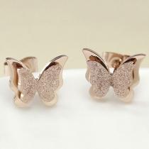 Bijou pour femmes boucles d'oreille en forme de papillon placage or rose à la mode