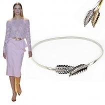Bijoux pour femme - Chaîne de taille - élastique et en forme de feuille de couleur or/argenté