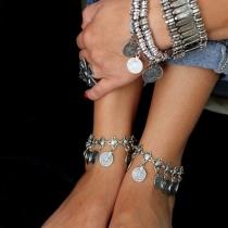 Bijou pour femmes chaîne cheville gland pièces cuivre style rétro
