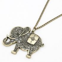 Bijou pour femmes collier chandail pendentif éléphant creux rétro