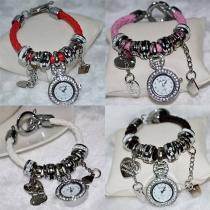 Mode en cœur de strass cadran pendentif  de bracelet de montre femmes