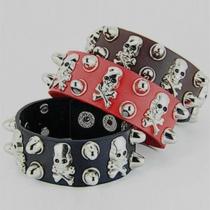 Bijoux de femmes Rétro Style Punk tête de mort Bracelet en cuir