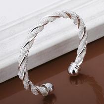 Bracelet Bling-bling Tordue Couleur Argent Tendance Bijoux pour Femmes