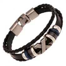 Rétro Style Punk perlé tressé cuir PU Bracelet amicale