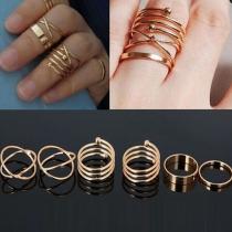 Bijou pour femmes bague doigt jeu 6 pièces anneau ton argent/or à la mode