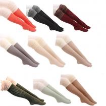 Chaussettes Hautes Tricotées Couleur Contrastée à la Mode