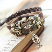 Bracelet Amitié Cuir PU Tressé Perlé Croix Style Rétro Bijoux pour Femmes