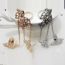 Mode chaîné bijoux incrusté de strass feuille doigt anneau féminin