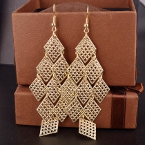 Fashion Diamond-Shaped Tiered Cutout Filigree Chandelier Earrings