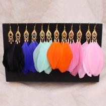 Bijoux de plume Drop boucles d'oreilles féminin de mode