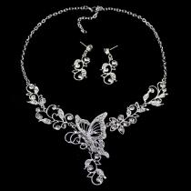 Bijoux à la mode de femmes collier sous forme de papillon en strass + boucles d'oreilles