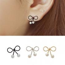 Boucles d'Oreillles/Bijoux / Accessoires Pour Femmes Chic à la Mode avec un Design de Nœud Papillon+Perle