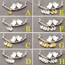 Fashion Love Birds Shaped Pendant Short Necklace