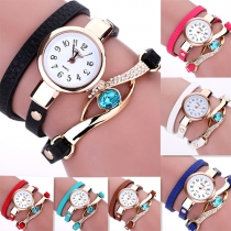 Fashion Multilayer PU Leather Watchband Round Dial Bracelet Watch