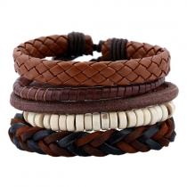 Retro Style DIY Braided PU Leather Bracelet for Men