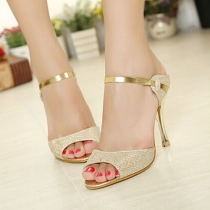 Sexy Gold Peep Toe High-heeled Sandals