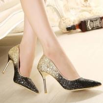 Chaussures à Talons Hauts Brillantes à la Mode en Couleur Gradiente Pailletées