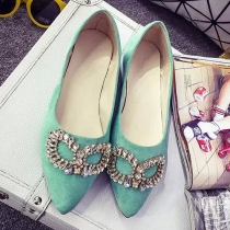 Fashion Rhinestone Pointed Toe Flat Heel Shoes