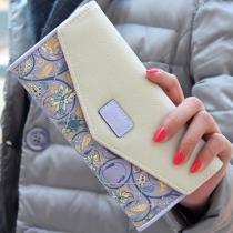 Portefeuille Style Pastoral à la Mode en Couleur Contrastée à Imprimés Fleuris