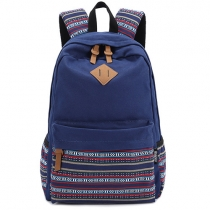 Fashion Contrast Color Print Casual Canvals Backpack