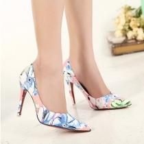 Chaussures à Talons Hauts Elégantes à la Mode à Imprimés Fleuris