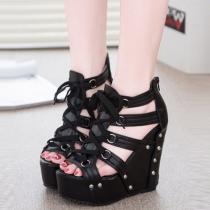 Fashion Leopard Print Rivets Peep Toe Wedge Heel Sandals
