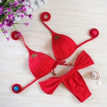 Sexy Solid Color Push-up Halter Bikini Set