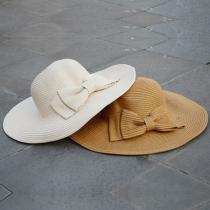 Sweet Bowknot Wide Brim Sunscreen Sun Hat Straw Hat