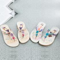 Bohemian Style Floral Print Rhinestone Flat Heel Flip Flops