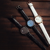 Fashion PU Leather Watch Band Round Dial Couple Watches