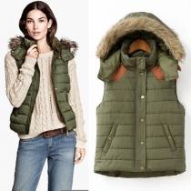 Fashion Contrast Color Detachable Hooded Vest