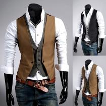 Veste de Gilet Cool à la Mode en Couleur Contrastée Sans Manches Pour les Hommes