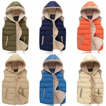 Fashion Contrast Color Hooded Couple Vests