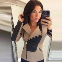Veste Cintrée Elégante à la Mode en Couleur Contrastée à Revers à Manches Longues