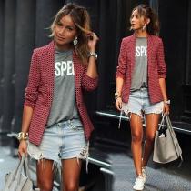 Blazer/Veste OL-Style Chic à la Mode à Revers à Carreaux