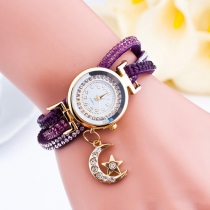 Fashion Rhinestone PU Leather Watch Band Round Dial Watch