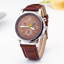 Fashion PU Leather Watch Band Round Dial Quartz Watches