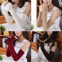 Moufles Longues Tricotées avec Ouverture en Faux Cuire à la Mode